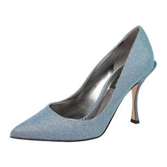 Dolce & Gabbana Blue Glitter Pointed Toe Pumps Size 36.5