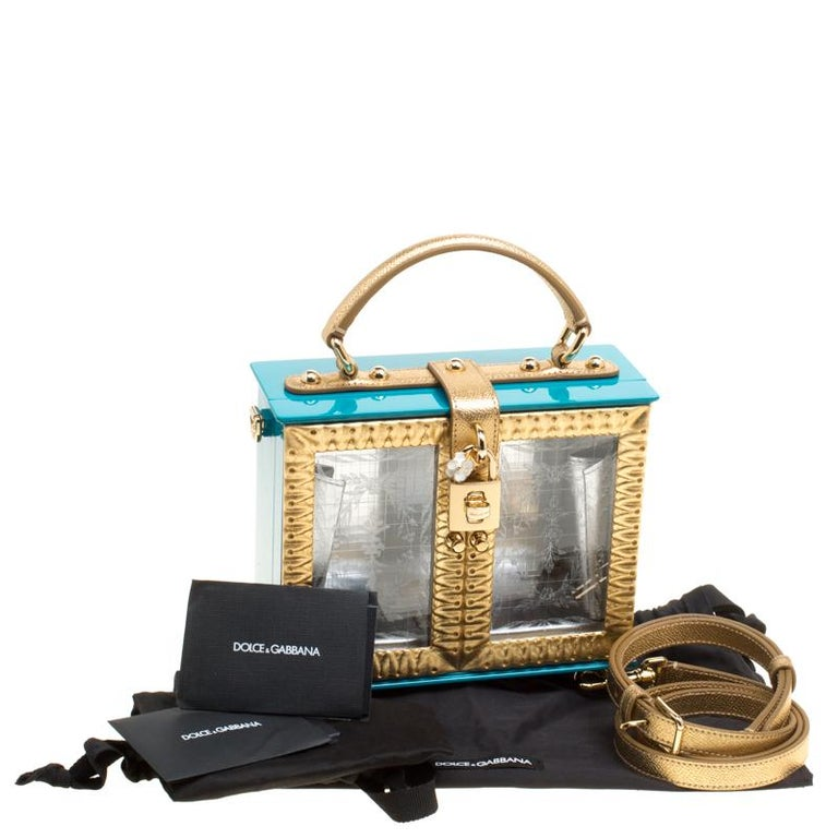 Dolce & Gabbana Blue/Gold Acrylic and Leather Furniture Box Top Handle Bag For Sale 7