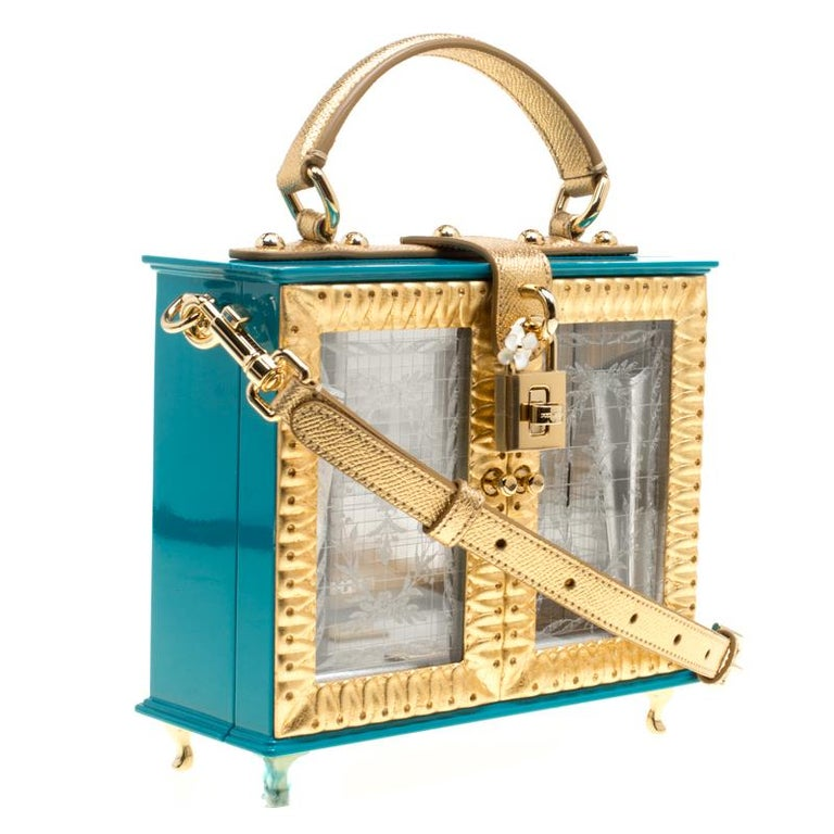 Women's Dolce & Gabbana Blue/Gold Acrylic and Leather Furniture Box Top Handle Bag For Sale