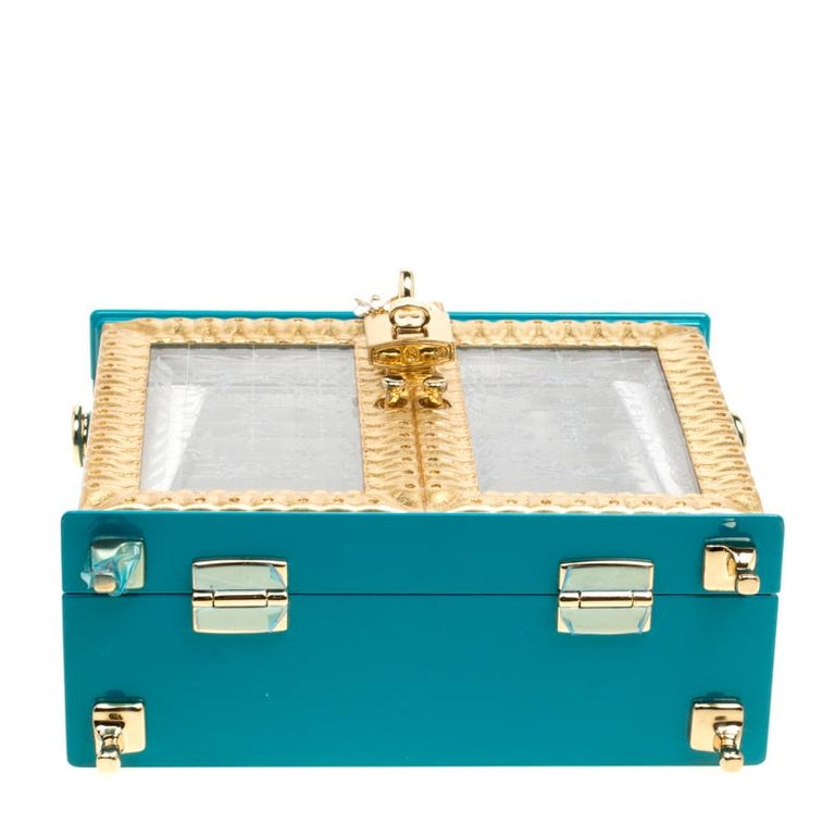 Dolce & Gabbana Blue/Gold Acrylic and Leather Furniture Box Top Handle Bag For Sale 2