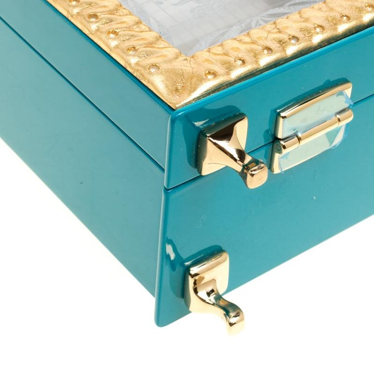 Dolce & Gabbana Blue/Gold Acrylic and Leather Furniture Box Top Handle Bag For Sale 5