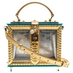 Dolce & Gabbana Blue/Gold Acrylic and Leather Furniture Box Top Handle Bag