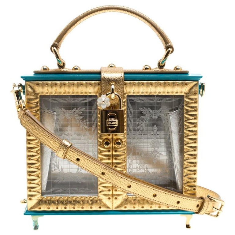 Dolce & Gabbana Blue/Gold Acrylic and Leather Furniture Box Top Handle Bag For Sale