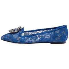 Dolce & Gabbana Blue Lace Jeweled Embellishment Ballet Flats Size 39