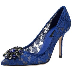Dolce & Gabbana Blue Lace Jeweled Embellishment Pointed Toe Pumps Size 36