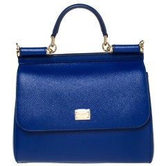 Dolce & Gabbana Blue Leather Medium Miss Sicily Bag