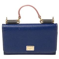 Dolce & Gabbana Blue Leather Miss Sicily Von Wallet on Chain