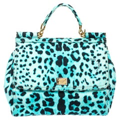 Dolce & Gabbana Blue Leopard Print Canvas Large Miss Sicily Top Handle Bag