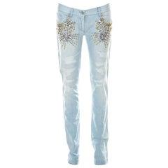 Dolce & Gabbana Blue Light Wash Denim Crystal Embellished Jeans S