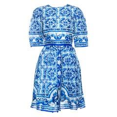 Dolce & Gabbana Blue Majolica Print Silk Organza Pleated Midi Dress M