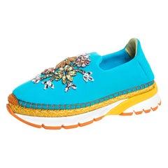Dolce & Gabbana Blue Neoprene Barcelona Embellished Slip On Sneakers Size 38