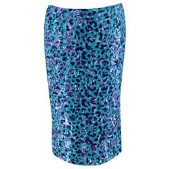 Dolce & Gabbana Blue & Purple Leopard Print Sequin Skirt - Us size 8
