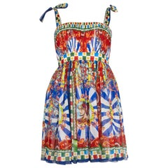 DOLCE & GABBANA blue & red silk CARRETTO PRINT EMPIRE Dress 38