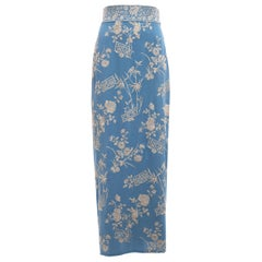 Dolce & Gabbana blue silk evening wrap skirt with floral embroidery, ss 1997