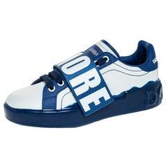 Dolce & Gabbana Blue/White Elastic Logo Leather Melt Portofino Sneakers Size 38