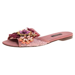 Dolce & Gabbana Blush Pink Lace And Leather Trim Embellished Slide Size 36