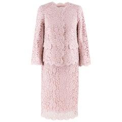 Dolce & Gabbana Blush Pink Lace Jacket and Skirt Set IT 38