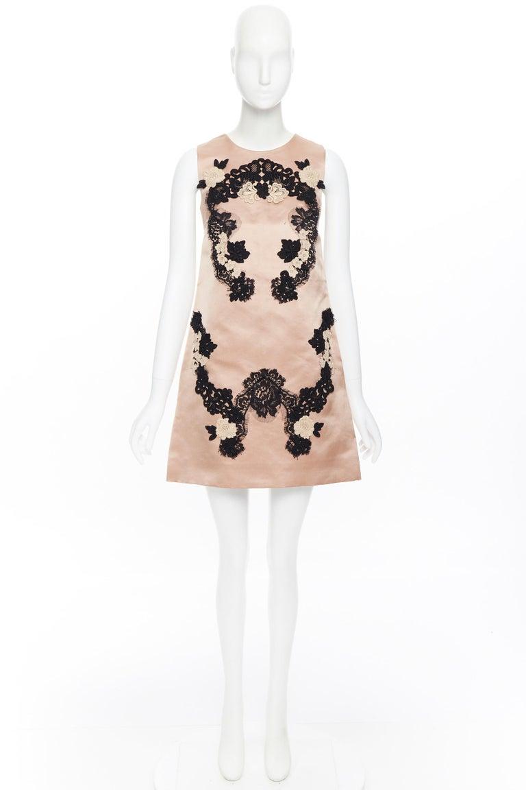 Beige DOLCE GABBANA blush pink silk black floral lace A-line mini dress IT36 XS For Sale