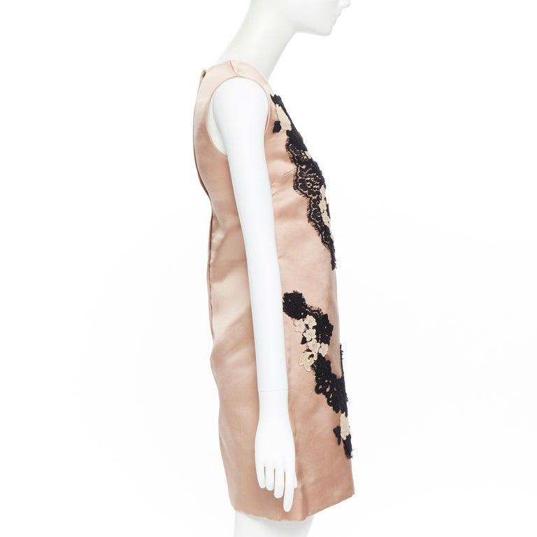 Women's DOLCE GABBANA blush pink silk black floral lace A-line mini dress IT36 XS For Sale