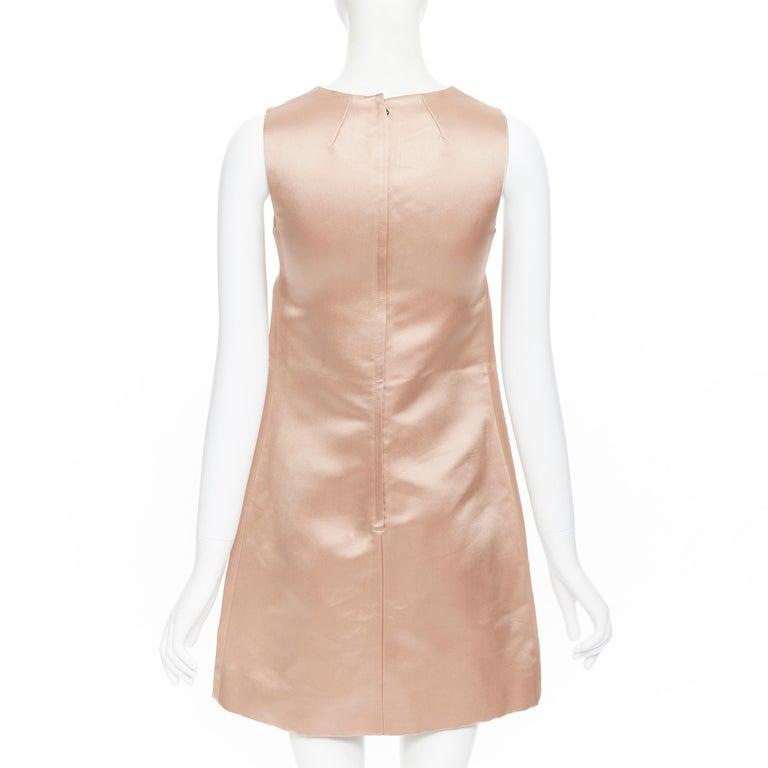 DOLCE GABBANA blush pink silk black floral lace A-line mini dress IT36 XS For Sale 1