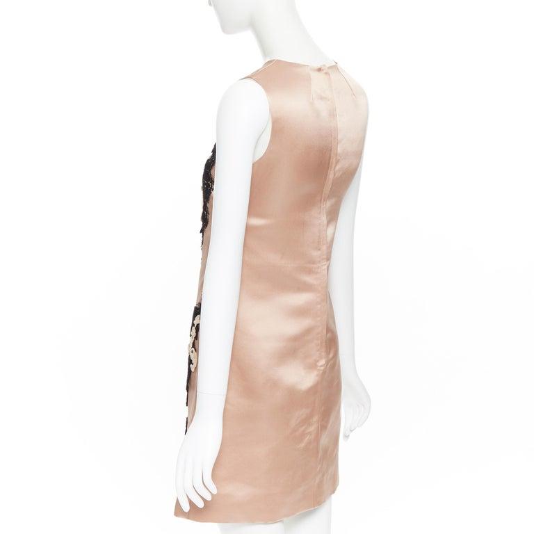DOLCE GABBANA blush pink silk black floral lace A-line mini dress IT36 XS For Sale 2