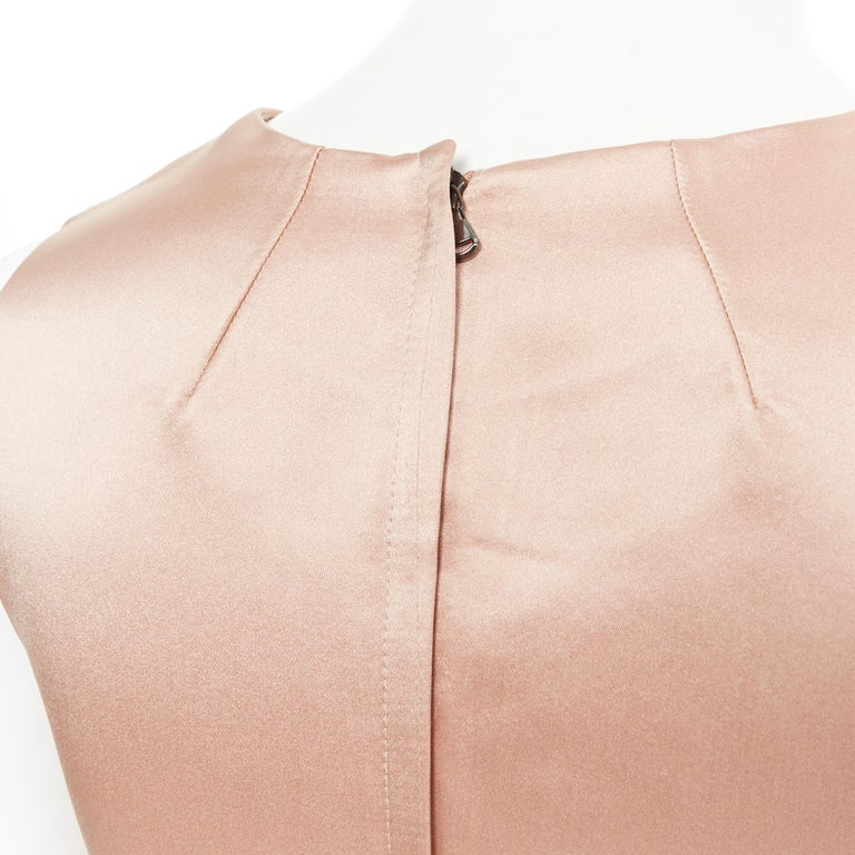 DOLCE GABBANA blush pink silk black floral lace A-line mini dress IT36 XS For Sale 4