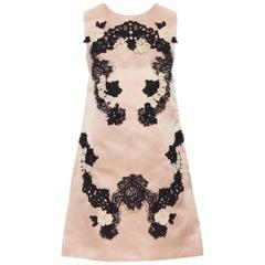DOLCE GABBANA blush pink silk black floral lace A-line mini dress IT36 XS