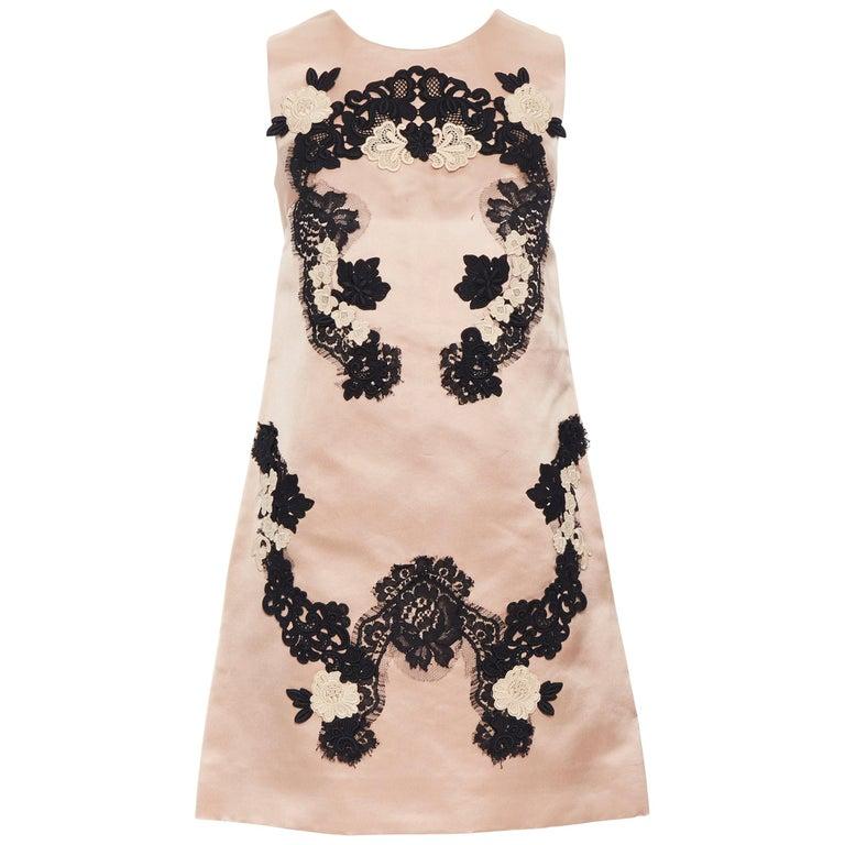 DOLCE GABBANA blush pink silk black floral lace A-line mini dress IT36 XS For Sale