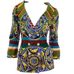 Dolce & Gabbana Bold Multi colored Majolica Sicilian Print Cotton Blazer Jacket