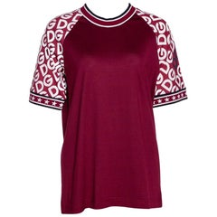 Dolce & Gabbana Bordeaux Jersey DG Mania Print Sleeved Crew Neck T Shirt IT 44