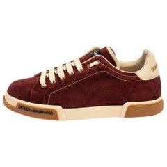 Dolce & Gabbana Bordeaux Suede Portofino Low Top Sneakers Size 41