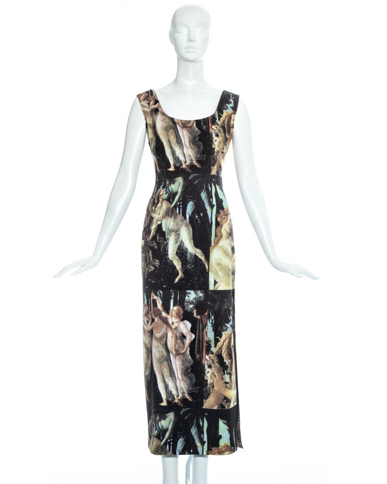 Dolce & Gabbana Botticelli painting printed cotton dress, ss 1993 In Good Condition For Sale In London, GB