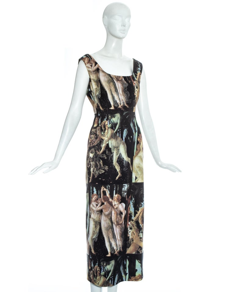 Dolce & Gabbana Botticelli painting printed cotton dress, ss 1993 For Sale 1