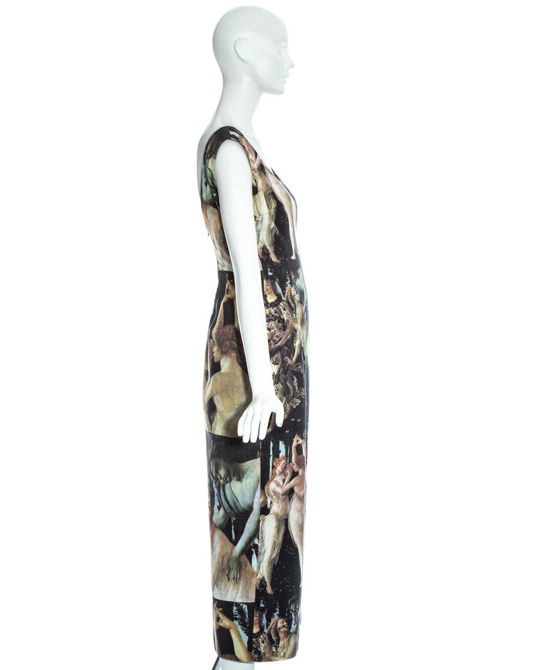 Dolce & Gabbana Botticelli painting printed cotton dress, ss 1993 For Sale 2