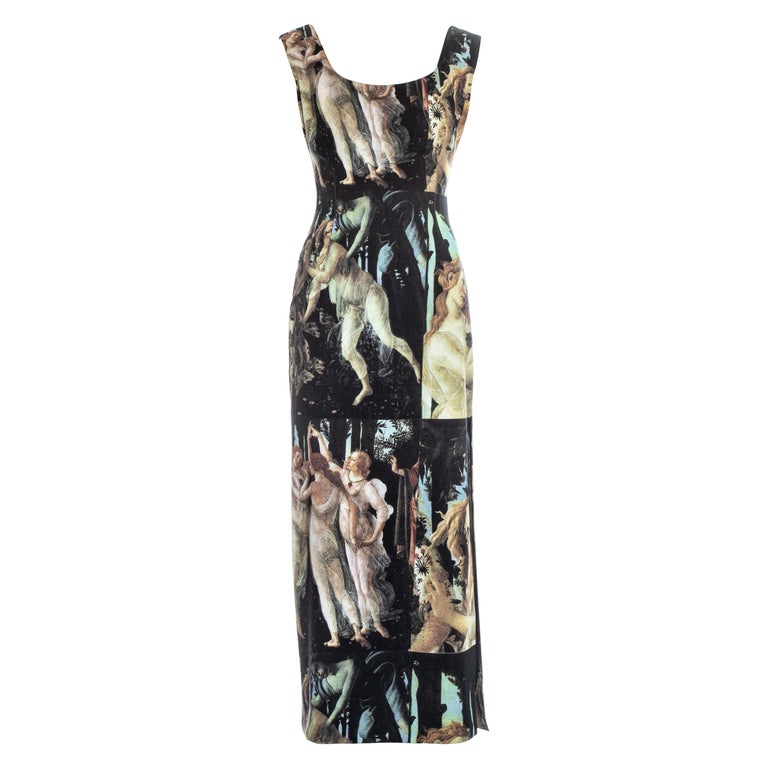 Dolce & Gabbana Botticelli painting printed cotton dress, ss 1993 For Sale