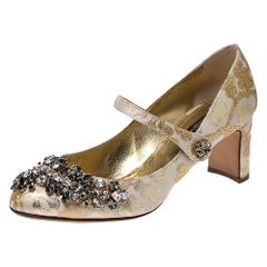 Dolce & Gabbana Brocade Fabric Crystal Embellished Mary Jane Pumps Size 37