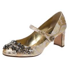 Dolce & Gabbana Brocade Fabric Crystal Embellished Mary Jane Pumps Size 37