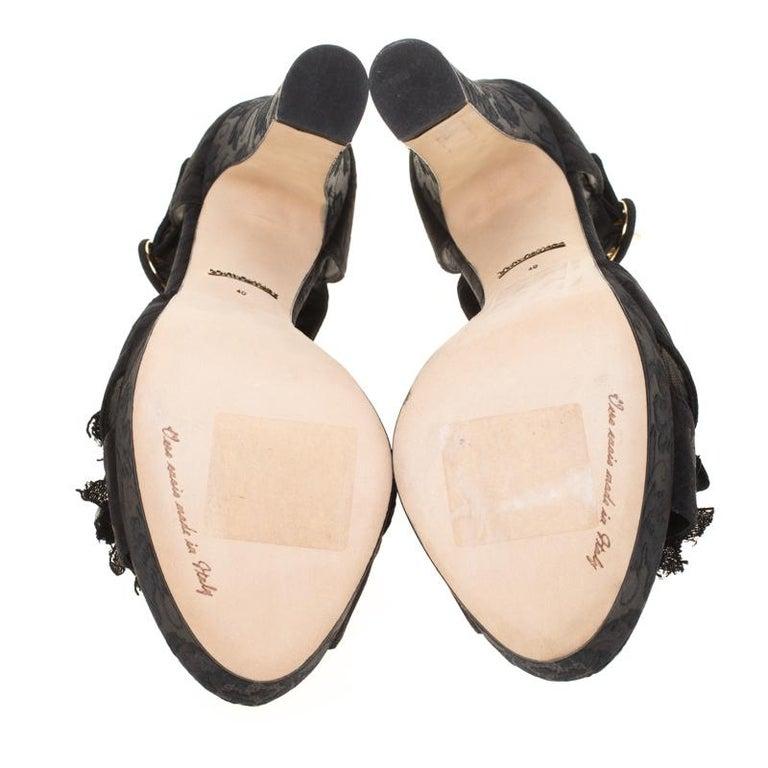 Women's Dolce & Gabbana Brocade Fabric Floral Embellished Cross Strap Platform Sandals40 For Sale