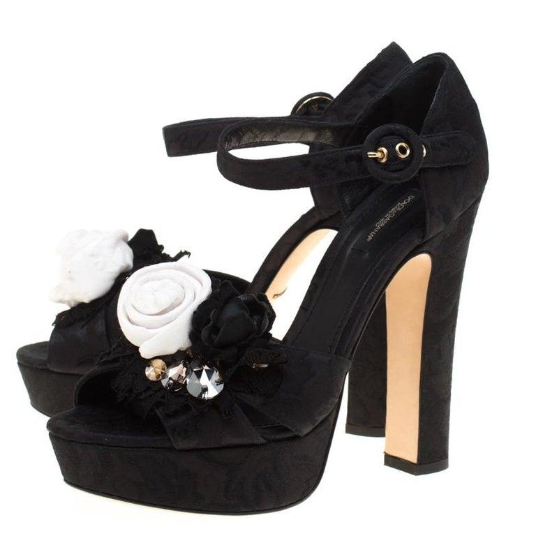 Dolce & Gabbana Brocade Fabric Floral Embellished Cross Strap Platform Sandals40 For Sale 2