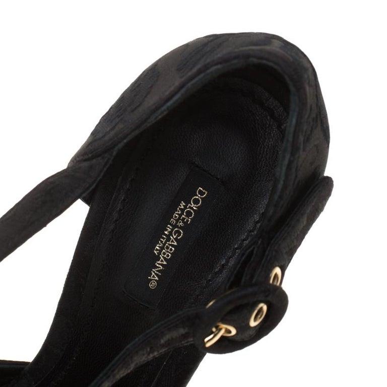 Dolce & Gabbana Brocade Fabric Floral Embellished Cross Strap Platform Sandals40 For Sale 3