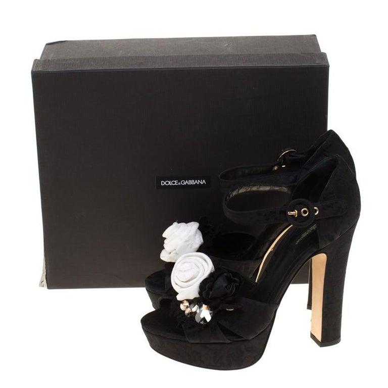 Dolce & Gabbana Brocade Fabric Floral Embellished Cross Strap Platform Sandals40 For Sale 4
