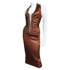 Dolce & Gabbana Bronze Lace up Halter Dress
