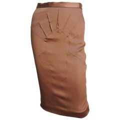Dolce & Gabbana Bronze Silk Seamed Skirt