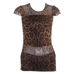 Dolce & Gabbana Brown Animal Printed Ruffled Sleeve Mesh Top S