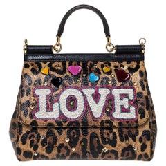 Dolce & Gabbana Brown/Black Leopard Print Leather LOVE Medium Miss Sicily Bag