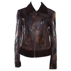 Dolce & Gabbana Brown Calfskin Circular Patchwork Leather Zip Front Jacket M