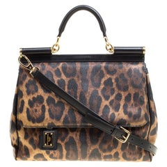 Dolce & Gabbana Brown Coated Canvas Large Miss Sicily Top Handle Bag