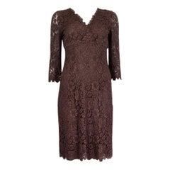 DOLCE & GABBANA brown cotton LACE 3/4 Sleeve Dress 40