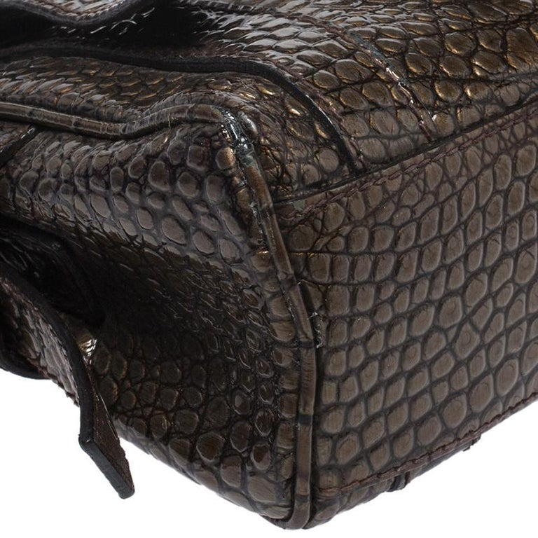 Dolce & Gabbana Brown Croc Embossed Patent Leather Miss Easy Way Shoulder Bag For Sale 5