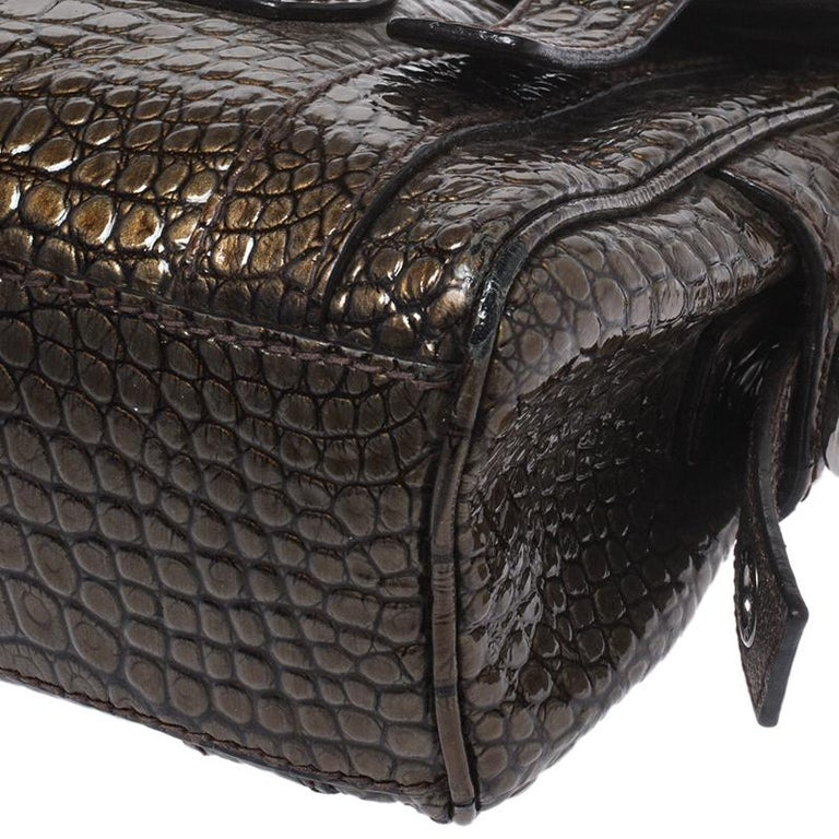 Dolce & Gabbana Brown Croc Embossed Patent Leather Miss Easy Way Shoulder Bag For Sale 6